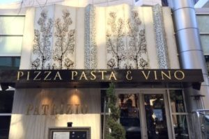 Storefront Sign Pizza Pasta & Vino Dallas, TX